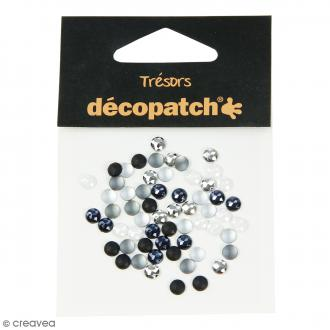 Cabochons ronds - Noir, blanc - 5 mm - 60 pcs