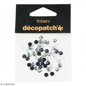 Cabochons ronds - Noir, blanc - 5 mm - 60 pcs
