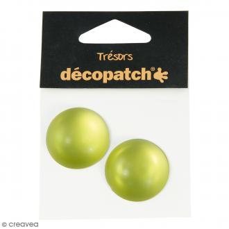 Cabochons ronds - Vert - 3 cm - 2 pcs