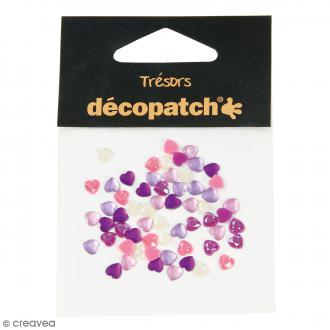 Cabochons Coeurs - Rose et violet - 5 mm - 60 pcs