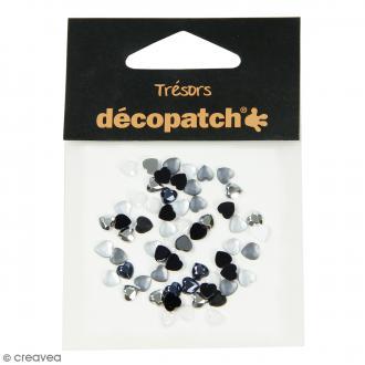 Cabochons Coeurs - Noir et blanc - 5 mm - 60 pcs