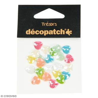 Cabochons Coeurs - Pearl pastel - 1 cm - 24 pcs