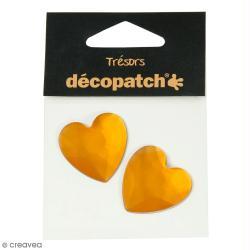 Cabochons Coeurs - Orange - 3 cm - 2 pcs