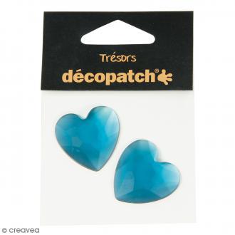 Cabochons Coeurs - Bleu - 3 cm - 2 pcs