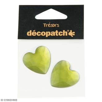 Cabochons Coeurs - Vert - 3 cm - 2 pcs