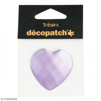 Cabochon Coeur - Violet parme - 4,5 cm