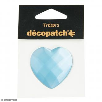 Cabochon Coeur - Bleu - 4,5 cm
