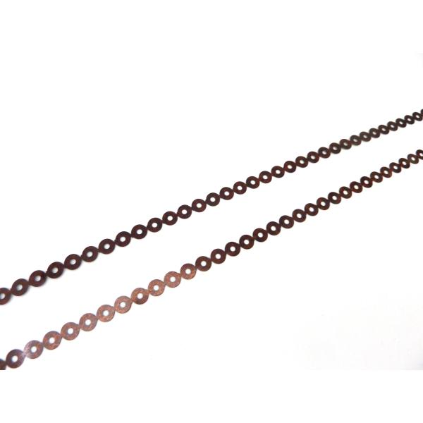 R-4,5m Ruban Pastille Sequin 4,5mm Plastifié Marron Rouge Irisé - Photo n°2