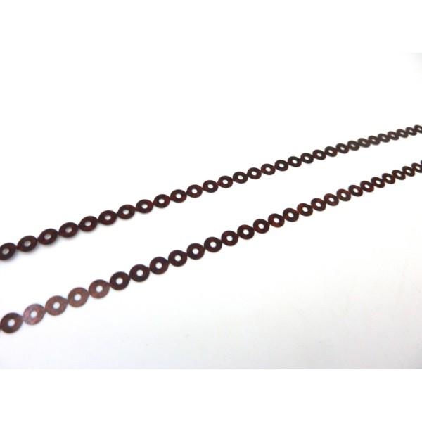 R-4,5m Ruban Pastille Sequin 4,5mm Plastifié Marron Rouge Irisé - Photo n°3