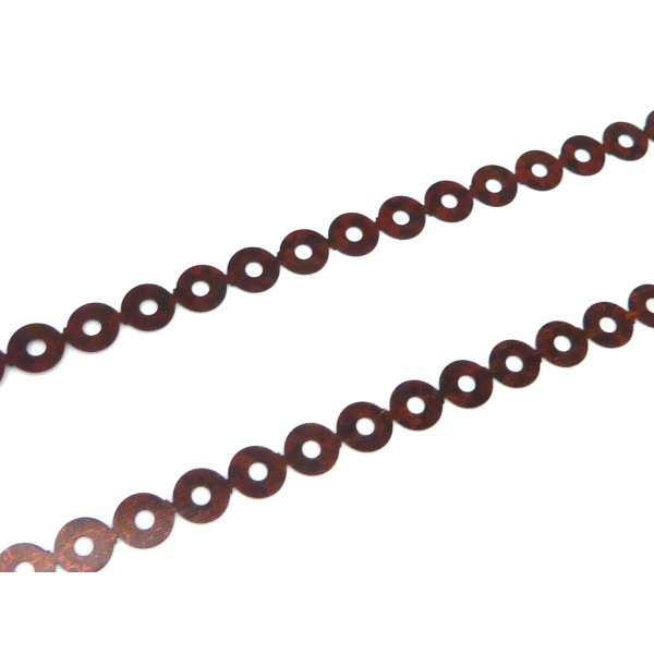 R-4,5m Ruban Pastille Sequin 4,5mm Plastifié Marron Rouge Irisé - Photo n°1