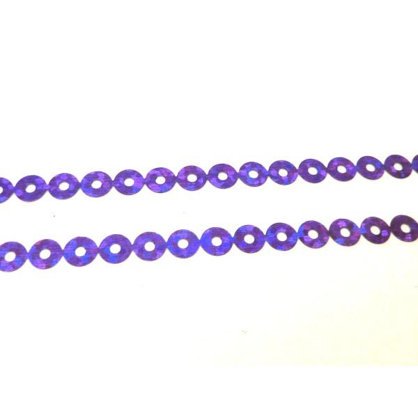 4,5m Ruban Pastille Sequin Plastifié Violet Avec Reflets Irisé 4,5mm - Photo n°1