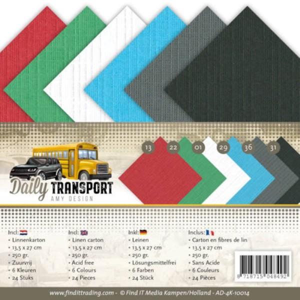 Set 24 cartes carrées Daily transport 13.5x27cm - Photo n°1
