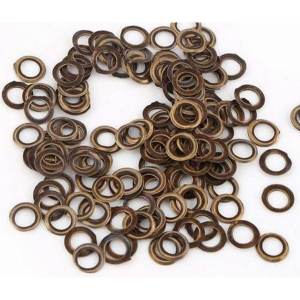 100 Oeillets ronds laiton antique brass avec rondelles assorties, 5 mm, couture - Photo n°2