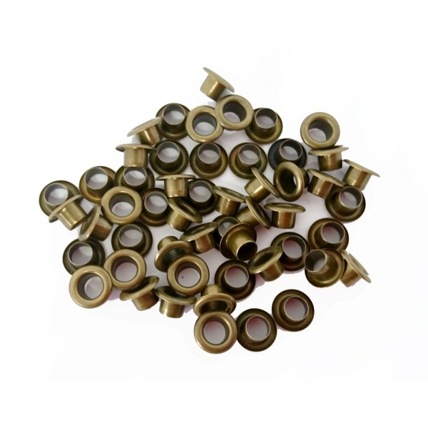 100 Oeillets ronds laiton antique brass avec rondelles assorties, 5 mm, couture - Photo n°3