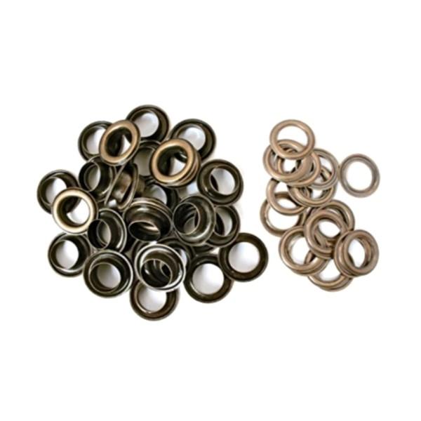100 Oeillets ronds laiton antique brass avec rondelles assorties, 5 mm, couture - Photo n°1