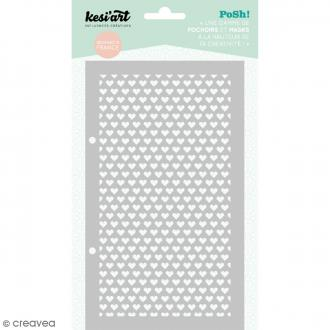 Pochoir Posh - Coeur - 11,5 x 19,5 cm - 1 planche