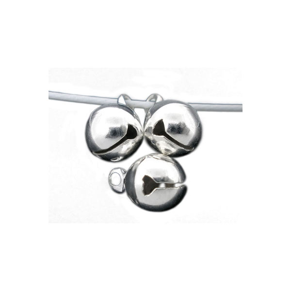 10 Cloche Argenté 11mm x 8mm grelots Metal Clochette Jingle Bell - Photo n°4