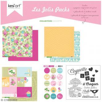 Kit scrapbooking - Les jolis packs - Coquette - 5 pcs