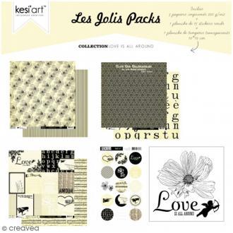 Kit scrapbooking Love is all around - Les jolis packs - 5 pcs