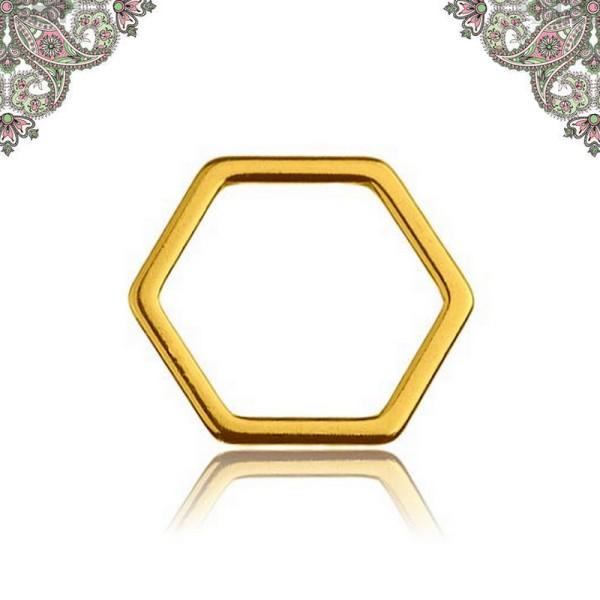 Argent 925 Plaquage Or - Connecteur : Hexagone,  10*11 mm pour chaines et bracelets - Photo n°1