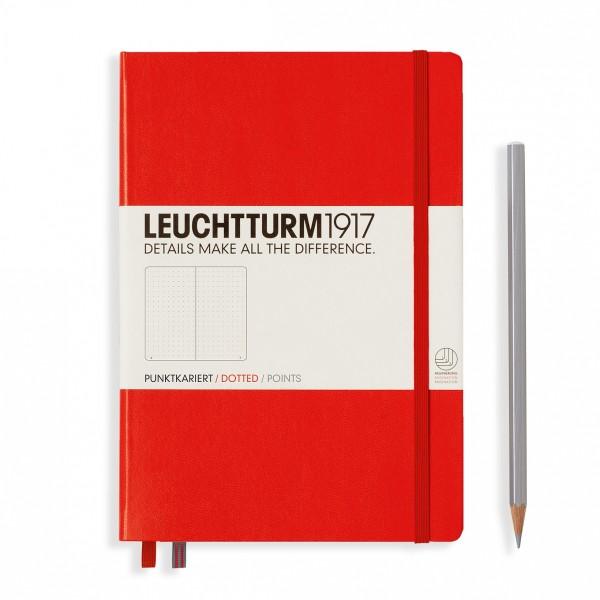 Carnet A5 Médium 15x21cm Dotted Pointillé, Couverture Rigide, 249 Pages Numérotées, Rouge - Photo n°1