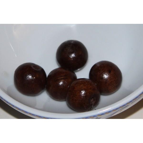 Lot de 5 perles rondes en bois marron foncé de 16 mm de diamètre. - Photo n°1