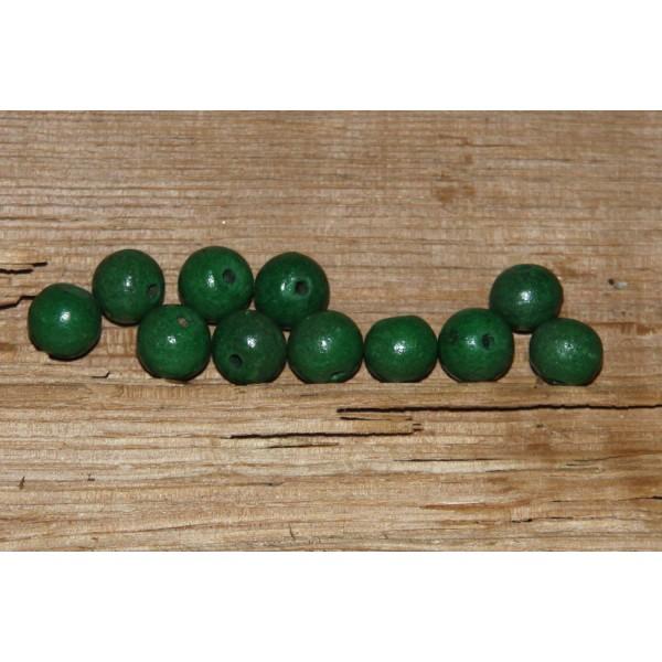 Lot de 10 perles rondes en bois vert de 8 mm de diamètre. - Photo n°2