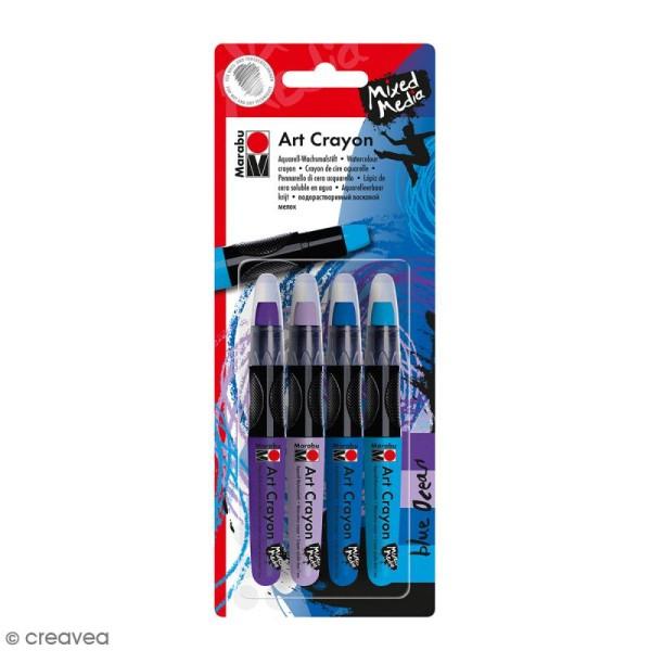 Crayon cire aquarelle - Art Crayon - Bleu ocean - 4 pcs - Photo n°1