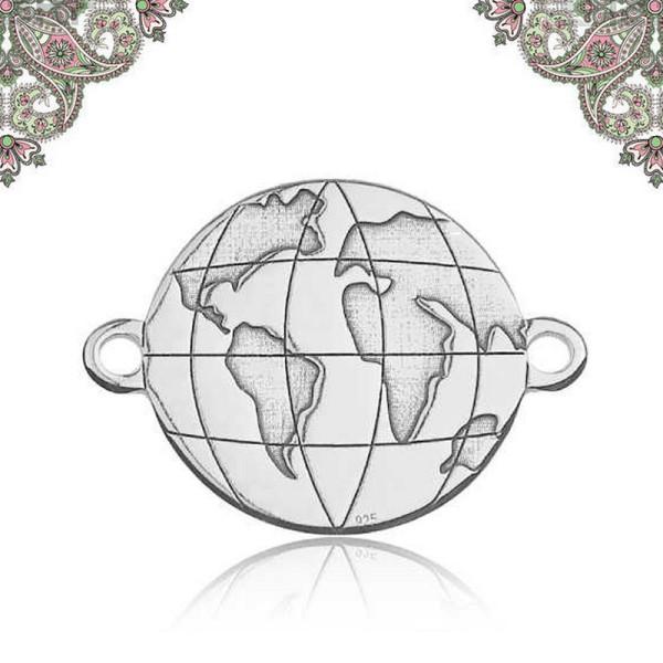 Argent 925- Connecteur Globe terre voyage 12,1*16,1 mm - Photo n°1
