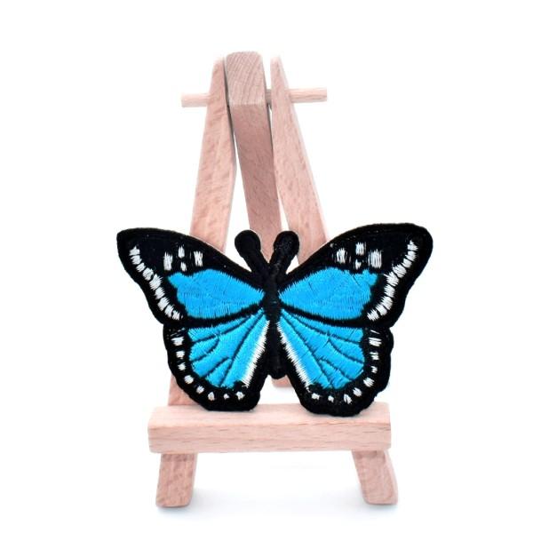 Ecusson brodé patch thermocollant papillon turquoise butterfly patch 7,5 cm