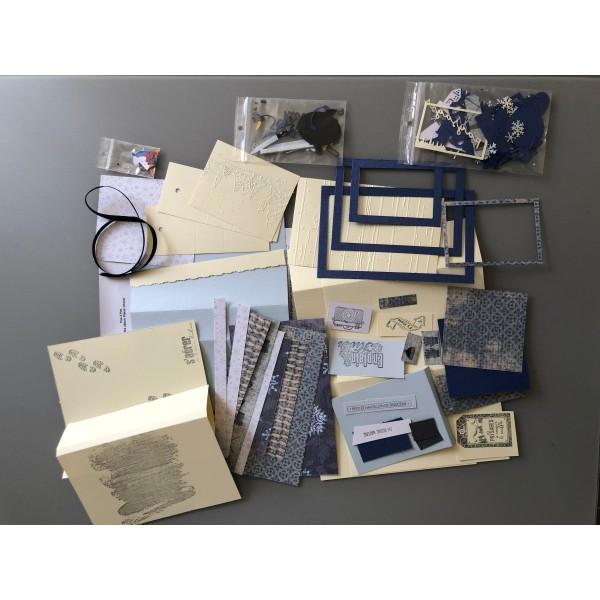 Kit scrapbooking mini album d'hiver (ski) 20/13/4 cm tutoriel et matériel fourni - Photo n°2