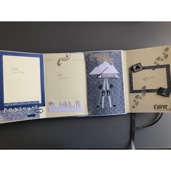 Kit scrapbooking mini album d'hiver (ski) 20/13/4 cm tutoriel et matériel fourni - Photo n°5