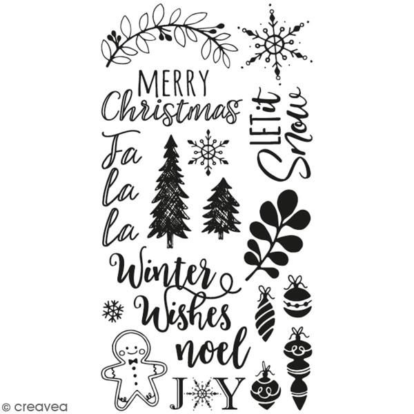 Tampons transparents - Phrases de Noël - 18 pcs - Photo n°1