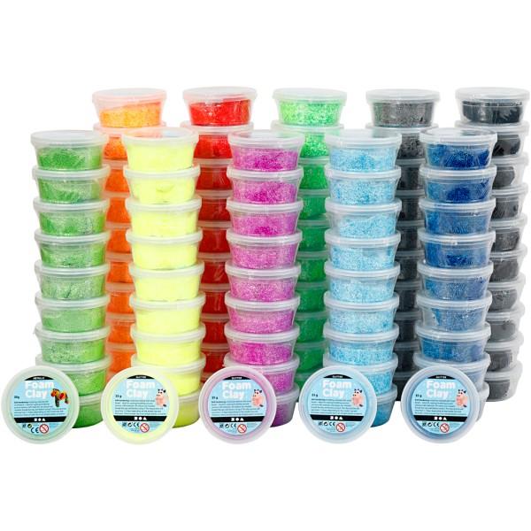 Pâte Foam Clay®, 10x10 boîtes, Couleurs assorties - Photo n°1