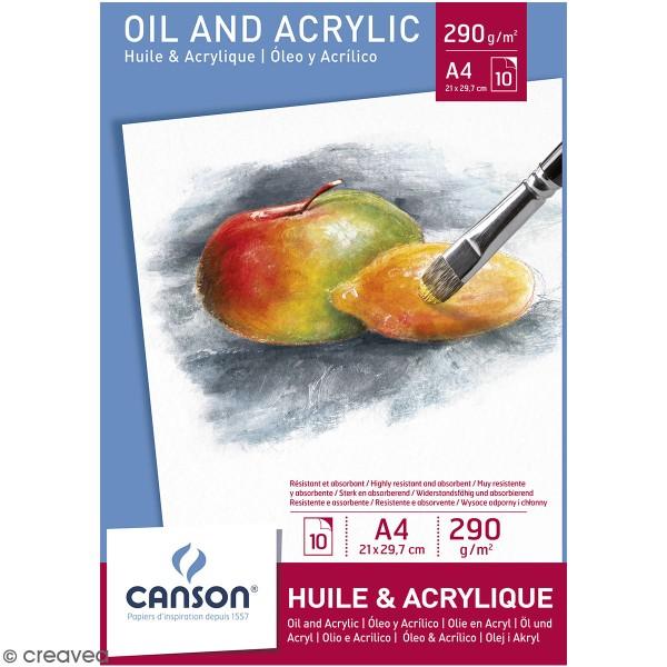 Bloc Canson A4 - Huile et acrylique - 10 feuilles - Photo n°1