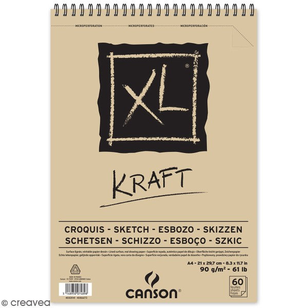Carnet A4 Canson XL - Kraft - 60 feuilles - Photo n°1