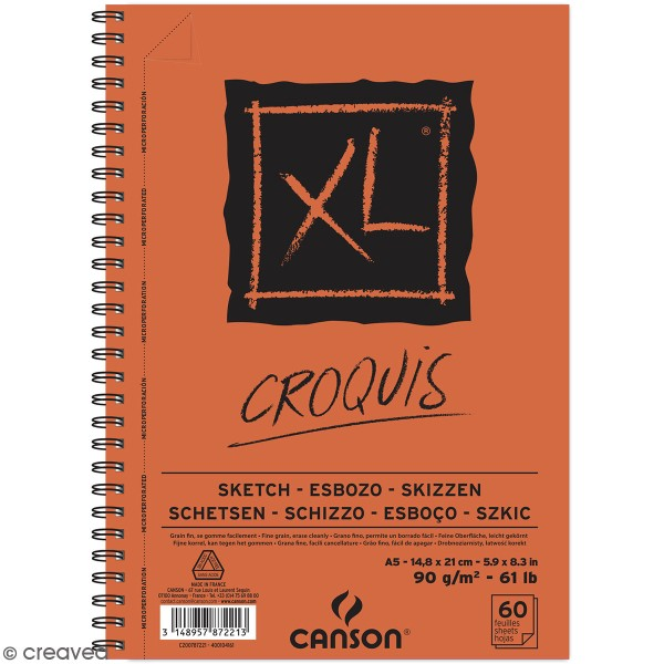 Carnet A5 Canson XL - Croquis - 60 feuilles - Photo n°1