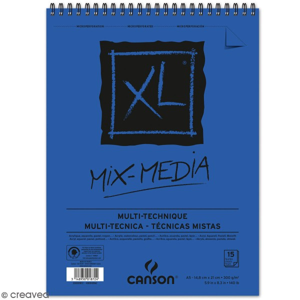 Carnet A5 Canson XL - Mix-Media - 15 feuilles - Photo n°1