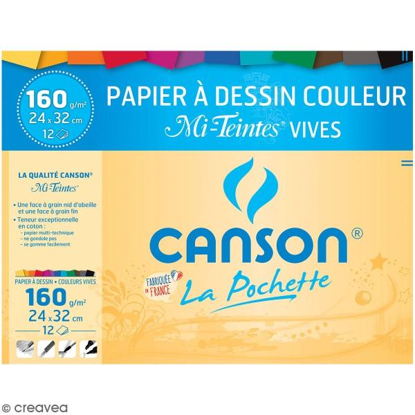Pochette Papier Coloré Mi-teintes Canson - 24 x 32 cm - 12 feuilles - Photo n°1