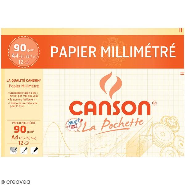 Pochette Papier Coloré Millimétré Canson - 21 x 29,7 cm - 12 feuilles - Photo n°1