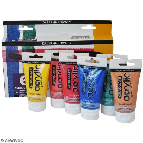 Coffret Peinture acrylique Daler Rowney - Couleurs métallisées - 6 x 75 ml - Photo n°1