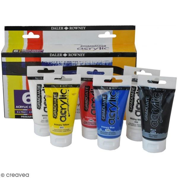 Coffret Peinture acrylique Daler Rowney - Couleurs primaires - 6 x 75 ml - Photo n°1