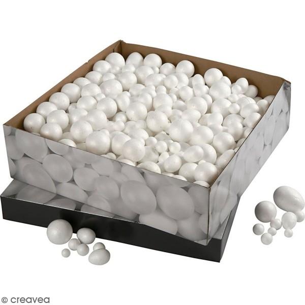 Lot d'oeufs et boules polystyrène - 550 pcs - Photo n°1