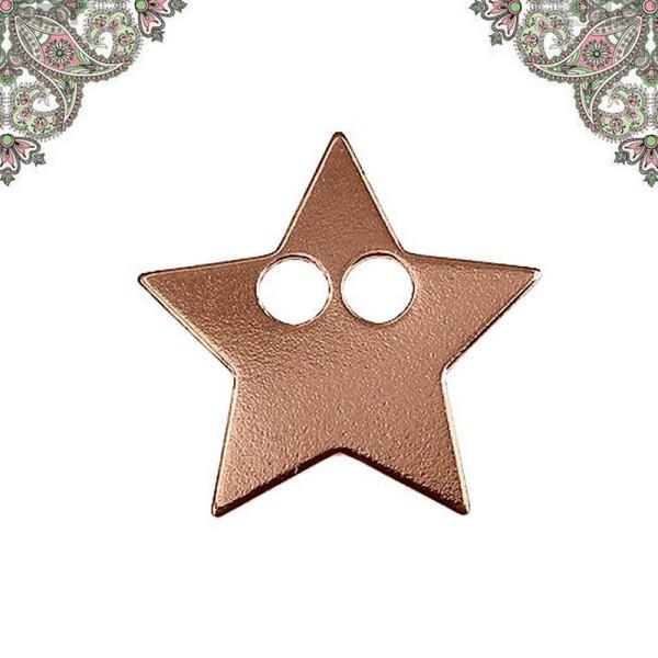 ARGENT 925 Plaquage Or Rose- Breloque, Pendentif étoile avec 2 trous 14,3*14,2 mm - Photo n°1