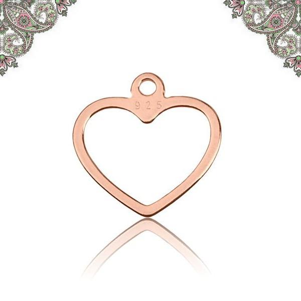 Argent 925 Plaqué Or Rose- Pendentif breloque Coeur 12,6*12,2 mm - Photo n°1