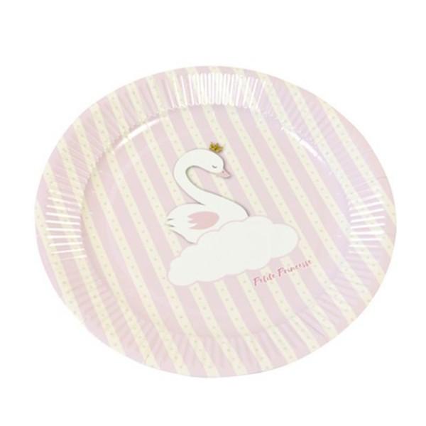 12 Petites assiettes en carton baptême Cygne rose - Photo n°1