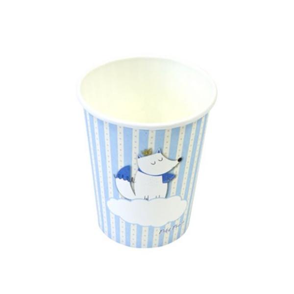 12 Gobelets en carton baptême Renard bleu - Photo n°1