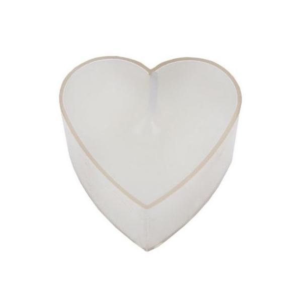 24 Bougies chauffe plat forme coeur blanches - Photo n°1