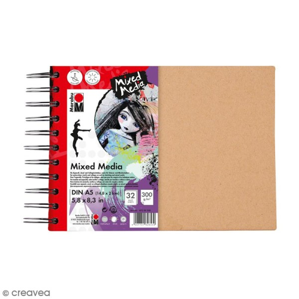 Carnet créatif - Art Journal - Mixed Media - A5 - 32 pages - Photo n°1