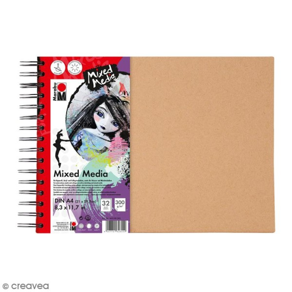 Carnet créatif - Art Journal - Mixed Media - A4 - 32 pages - Photo n°1